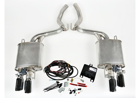 2015-2016 Mustang 5.0L V8 ROUSH Quad Tip Active Exhaust Kit (Convertible)
